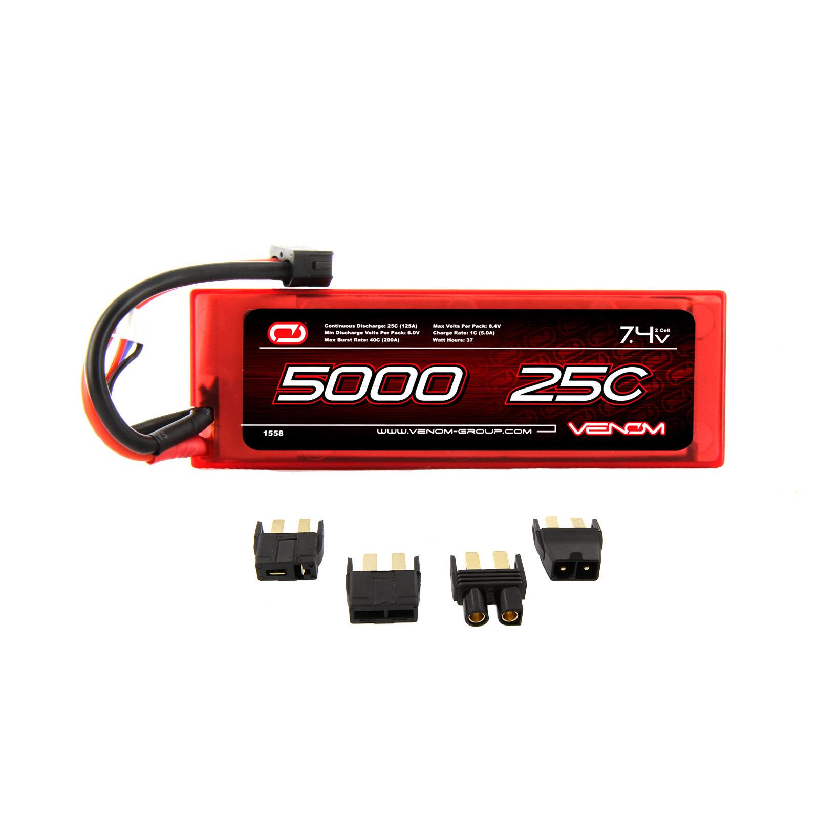 Venom 25C 2S 5000mAh 7 4v Hardcase LiPo Battery with Universal Plug