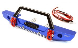 Integy 1/10 SCX10 II Front Bumper with LED Lights INTC26992BLUE