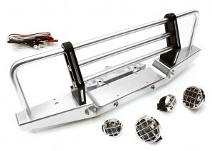 Integy 1/10 Front Bumper w/43mm Mount & LED Lights Silver INTC26763SILVER