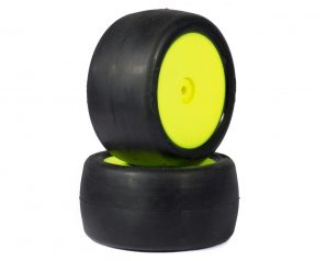 "AKA ""EVO"" Slicks 2.4"" Rear Buggy Pre-Mounted Tires (2) (Yellow) (Clay)"