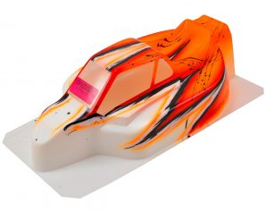 "Bittydesign ""Force"" Kyosho MP9 TKI2/3/4 1/8 Pre-Painted Buggy Body (Wave/Orange)"