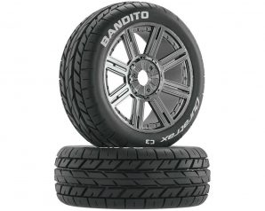 DuraTrax Bandito Buggy Tire C3 Mounted Spoke Black Chrome (2)